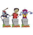 Zombies and grave stones vector image vector image