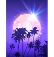 Pink shining moon with black palm trees vector image