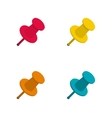 Set of colorful office push pins vector image