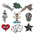 traditional tattooing style set tattoo old school vector image