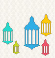 ramadan kareem background with colorful lamps vector image