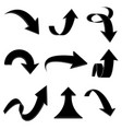arrows bent and curled up black flat icons vector image vector image
