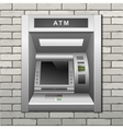 ATM Bank Cash Machine on a Brick Wall Background vector image