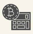 bitcoin calculator solid icon accounting and vector image vector image
