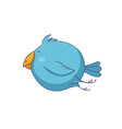 blue cartoon bird character vector image vector image
