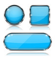 blue glass buttons with chrome frame set of shiny vector image vector image