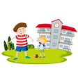 boy bullying young child vector image