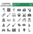 camping glyph icon set hiking symbols collection vector image