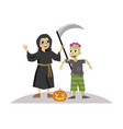 cartoon boys in halloween mystery costumes poster vector image vector image