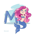 Cartoons Alphabet - Letter M with funny Mermaid vector image vector image