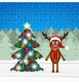 Christmas reindeer and Christmas tree vector image vector image