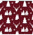 christmas seamless pattern with white silhouette vector image