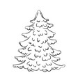 christmas tree coloring page vector image vector image