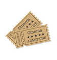 cinema tickets with shadow on a white background vector image vector image