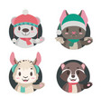 collection of 4 cute animals in winter apparel vector image vector image