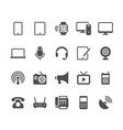 communication device glyph icons vector image