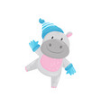 cute adorable hippo wearing blue knitted hat and vector image vector image