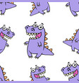 cute purple smiling dinosaur pattern vector image