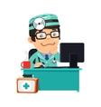 Doctor at His Desk vector image vector image