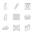 domestic washing icons set outline style vector image vector image