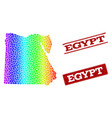 dotted spectrum map of egypt and grunge stamp vector image