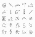 egypt outline icons vector image vector image