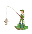 fisherman in fishing clothes catches big fish vector image