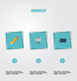 flat icons stand gadget pen elements set vector image vector image