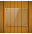 Glass plate on the background of wooden wall vector image vector image