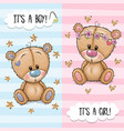 greeting card with cute teddy bears boy and girl vector image vector image