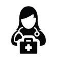 healthcare icon female doctor person profile sign vector image