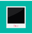 Instant photo with word love in flat design style vector image vector image