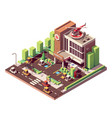 isometric hospital building vector image vector image
