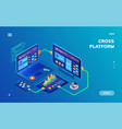 isometric notebook and smartphone tablet cloud vector image vector image