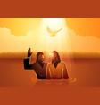 jesus baptised john baptist vector image vector image