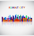 kuwait city skyline silhouette vector image vector image