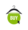 logo hanger with a green button and cursor vector image vector image