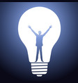 man silhouette standing in light bulb vector image vector image