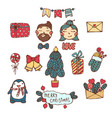 merry christmas happy new year cute hand drawn vector image