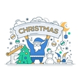 Merry Christmas - line design card vector image vector image