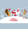 merry christmas party in the forest vector image