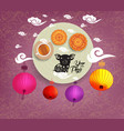 oriental chinese new year background with lantern vector image vector image