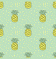 pineapples seamless pattern tropic green and vector image