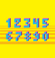 pixel retro video game numbers 80 s retro vector image vector image