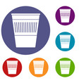 plastic office waste bin icons set vector image vector image