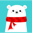 polar white bear cub face wearing red scarf merry vector image vector image