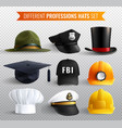 professions hats transparent set vector image vector image