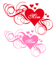 Red heart with swirls mothers day card vector image