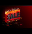 sale advertising inscription with fire black vector image
