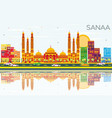 sanaa yemen skyline with color buildings blue vector image vector image